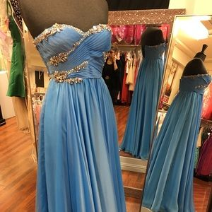Periwinkle strapless prom dress